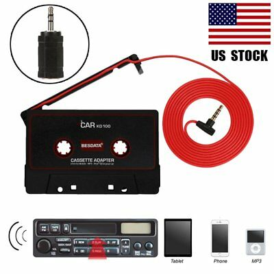 |3.5mm| Car Cassette Audio AUX MP3 Player Tape Adapter Aux Cable Cord For iPhone