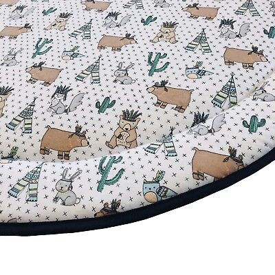 NEW Padded Round Baby Play Mat Tummy Time - Woodlands Animals