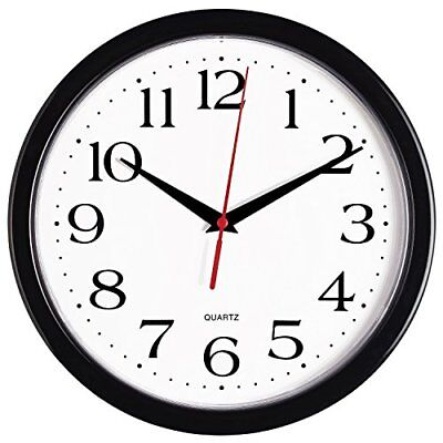 Bernhard Products Black Wall Clock Silent Non Ticking - 10 Inch Quartz Battery