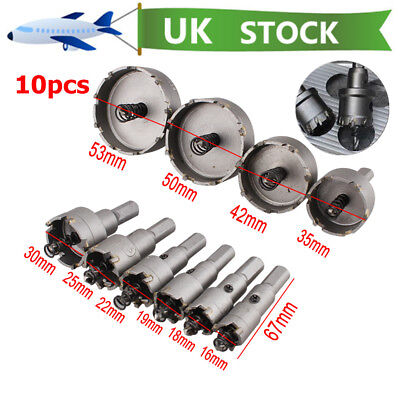 10pcs Carbide Tip Hole Saw Cutter Drill Bit For HSS Steel Metal Alloy 16-53mm UK