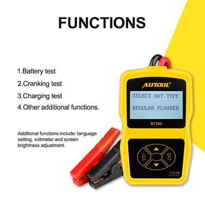 AUTOOL BT-360 DC 12V Car Vehicle Battery System Tester LCD Car Charging Analyzer