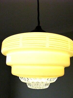 Art Deco retro antique vintage stepped glass pendant light fitting with diffuser