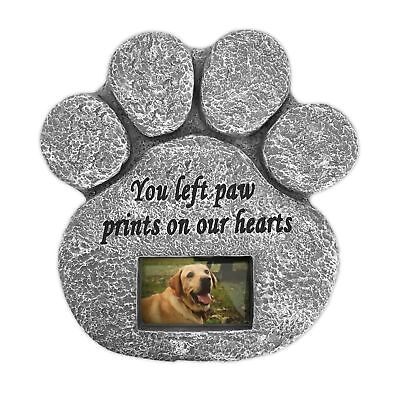 Paw Print Pet Memorial Stone With Photo Frame dog cat remember your best friend