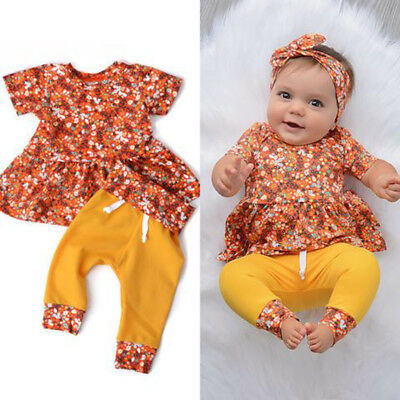 3Pcs Kids Infant Baby Girls Floral Short Sleeve Tops Dress+Pants Outfits Clothes