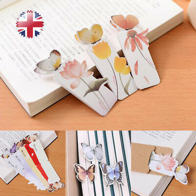 10x Cute Butterfly On Flower Shape Exquisite Bookmarks Book Markers Readers Gift