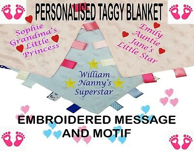 PERSONALISED EMBROIDERED BABY TAGGY TAGGIES BLANKET COMFORTER CHRISTMAS GIFTs