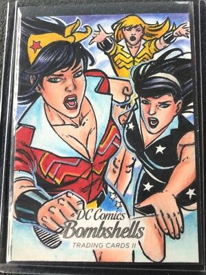 2018 Cryptozoic DC Bombshells II Wonder Woman Sketch Card 1/1 Cleber Lima Artist