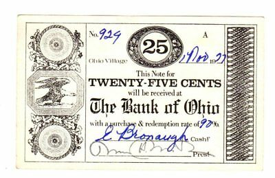 Ohio Village, Bank of Ohio 25¢ note scrip issued 1978            [d4