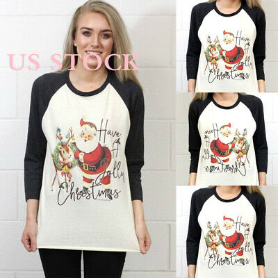 US Women Kids Girls Casual Tops Blouse T-shirts Santa Claus Christmas Outfits