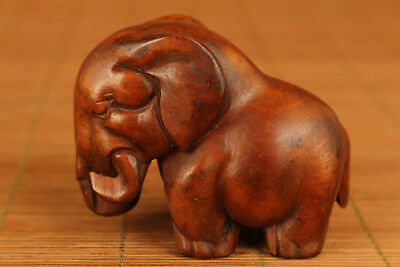 Lovely chinese Old Boxwood Hand Carved Elephant Statue Figure table decoration