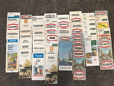 54 ct. TEXACO US STATE & REGION collectible folding MAPS- most vintage 1970s