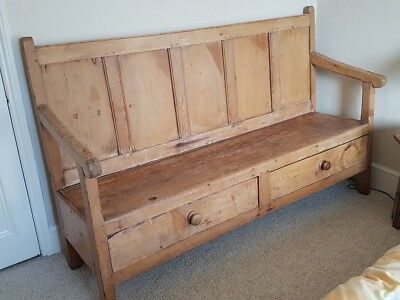 Antique Solid Pine Waxed Welsh Settle