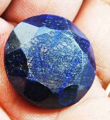 61.50Ct. Natural Round Cut Pendant Size African Blue Sapphire Loose Gemstone