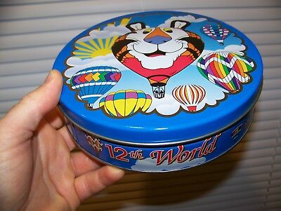 Vintage 1995 12TH WORLD HOT AIR BALLOON CHAMPIONSHIP Cookie Tin TONY THE TIGER