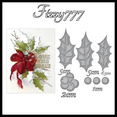 Large CHRISTMAS PRESENT Gift Holly Flourish Design H06 Metal Cutting Die