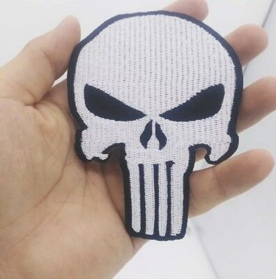 Ecusson Patch Brode Thermocollant The Punisher Tete De Mort Militaire Biker