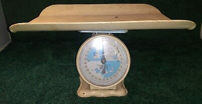 Vtg Nursery Scale w/Basket Infant Baby Photo Prop 30 Lb.Needs some restoration