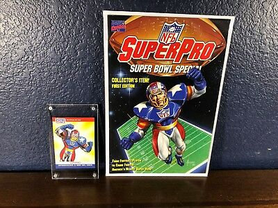 1st Appearance SUPER PRO #1 NM+ Mint Trading Card (1990 Marvel Comic) NFL lot