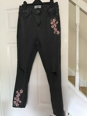 new look 915 age 15 Grey Jeans Floral Embroidery