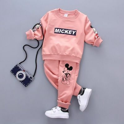 2pcs Toddler Baby Boys Girls Outfit Tops+Pants kid MICKEY Clothes Set 4 Color