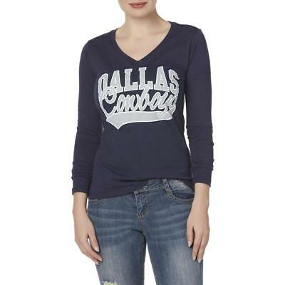 NFL  Dallas Cowboys Ladies Women's Graphic Blue Gray LS Long-Sleeve T-Shirt NTW