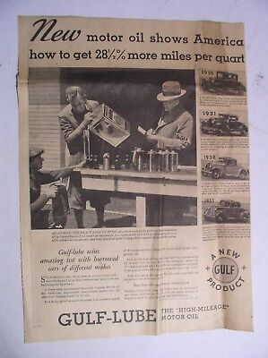 1933 Gulf Oil Motor Oil Advertisement