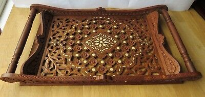 Vintage Hand Carved Wooden Serving Tray Twin Handles Decorative Cut Out