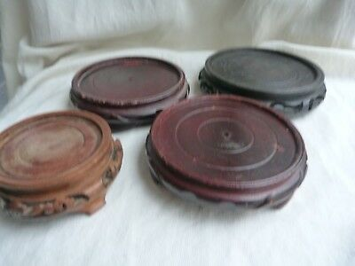 Job Lot Of 4 Chinese Antique Carved Display Stands