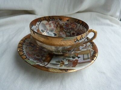 Top Quality Japanese Satsuma Gilded Eggshell Cup And Saucer. Marked