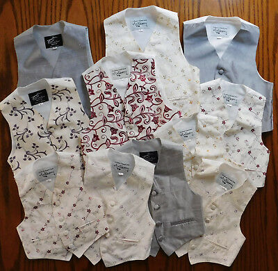 11 boys silk waistcoats job lot IMPERFECT school play childrens panto costumes N