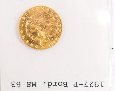 1927 $2.50 Indian Head Gold Quarter Eagle Coin  $2.5