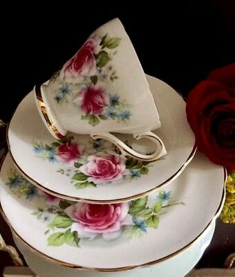 Vintage English china trio gilded Royal Sutherland teacup saucer side plate