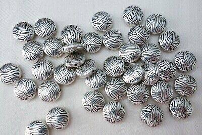 20 Antique Silver Coloured 10mmx4mm Patterned Spacer Beads #sp0152 Findings