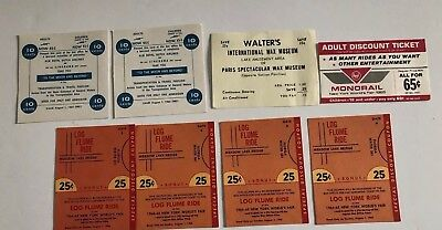 1964 1965 NEW YORK WORLD'S FAIR -Tickets - Monorail Log Flume Wax Museum