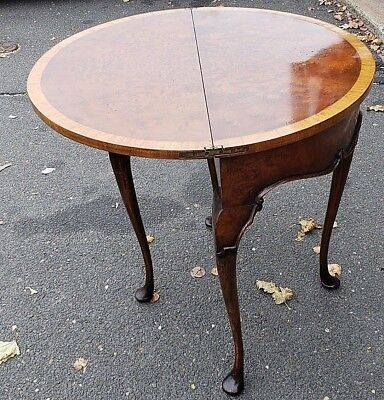 Antique Burl Card/Game Folding Table w/ Mahogany Inlay,Circa 1900~10's WE SHIP!