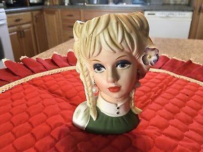 Vintage Lady Head Vase Rubens 4135 Blonde Braids Purple Flower Green Dress EUC