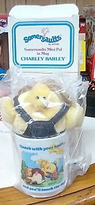 NEW 1986 Avon Charley Barley Somersaults Mini Pal in Mug Stuffed toy plastic cup