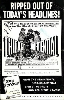 CHICAGO CONFIDENTIAL pressbook, Brian Keith Beverly Garland Dick Foran FILM NOIR