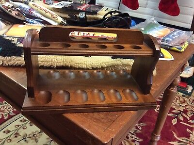 vintage solid wood 12 pipe rack holder stand with wood handle