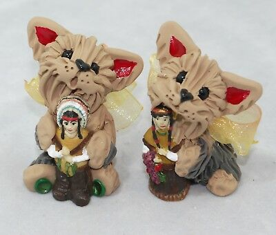 Yorkshire Terriers Yorkies Duo Thanksgiving Friends Minis Set of 2 Figurines