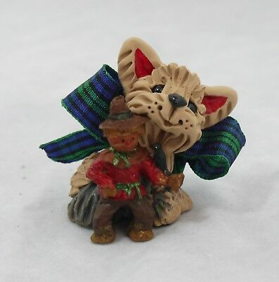 Yorkshire Terriers Yorkie Thanksgiving Scarecrow Collectible Miniature Figurine