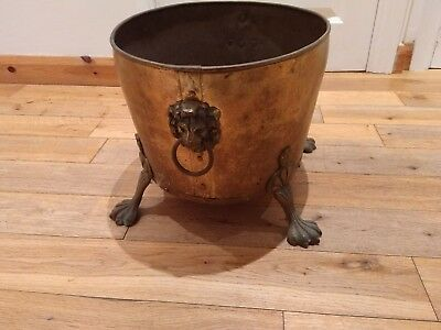 Large Antique Brass Coal Bucket With Claws