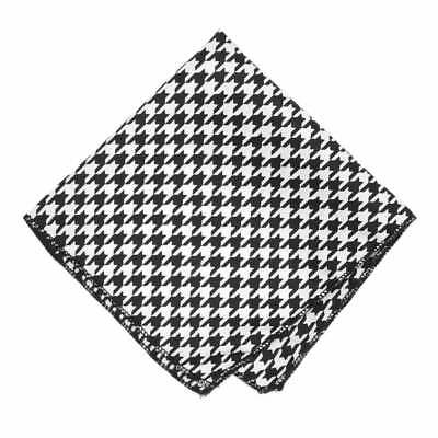 Black and White Houndstooth Pocket Square