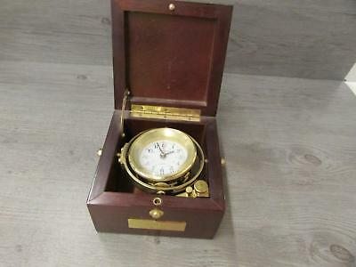 Seth Thomas Model 1071 Biscayne Ship's Clock 1993 Wood Case Brass Clock