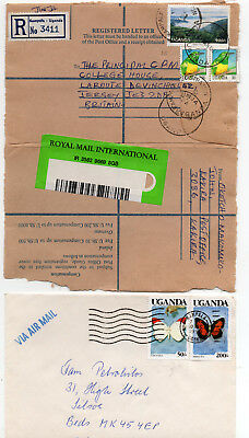 UGANDA TWO COVERS  1990 and 1997 with Stamps .