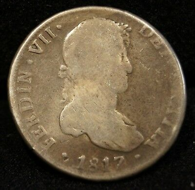 1817 Spanish Fernando VII Monarch 8 Reales Bolivia Colonial Silver Coin