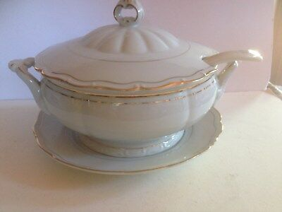 Vintage Empress Large 4 Pc Soup Tureen White With Gold Trim