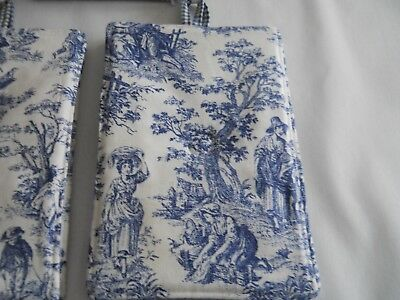 New Item~Waverly Navy Rustic Toile & Gingham Large Reversible Set Of  Potholders