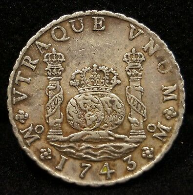 1743 Spain 8 Reales Mexico Minted Colonial Silver Coin