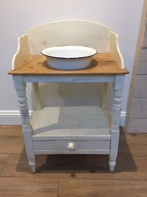 Victorian Washstand, cream paint and pine with original enamel bowl